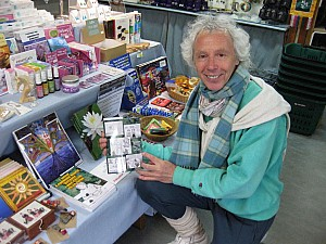 Lev with Manga book in Findhorn shop